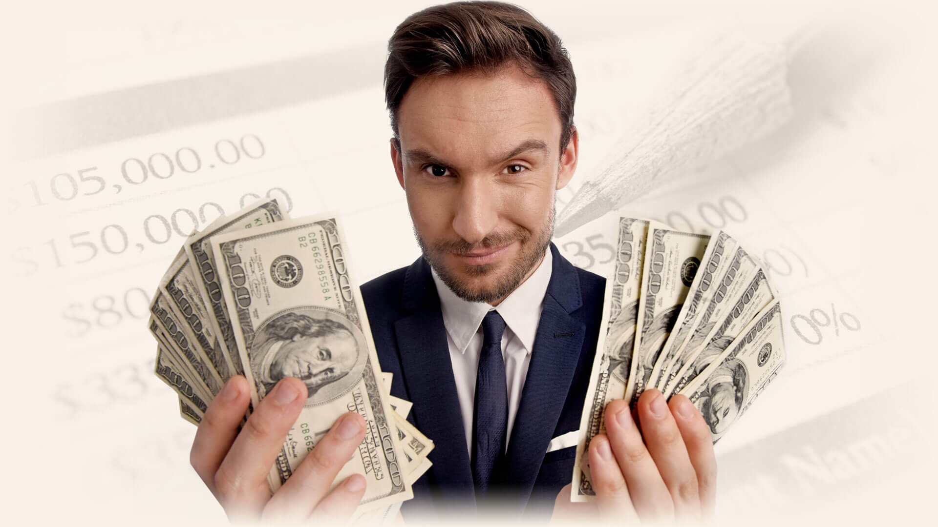 A man in a suit holding money on his two hands